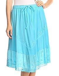 Sakkas Beren Mid Skirt Flared With Elastic Waist Embroidery Brocade and Crochet