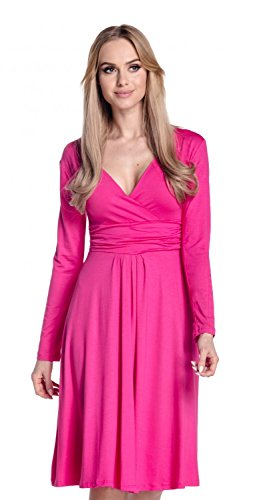 Glamour Empire. Femme. Robe à taille froncée. Robe jersey manches longues. 890 Fuchsia