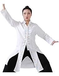 GOWE Tai Chi Ropa de Entrenamiento - Mujeres Artes Marciales Chino Tradicional Bordadas Florales Qi Gong Shaolin Kung Fu Arriba