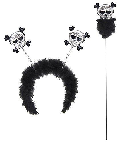 Totenkopf Haarreif und Stab - Zum Vampir Geister Party Halloween Kostüm