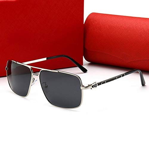 FELICILII Herren Square Retro Fashion Travel Sonnenbrille, polarisiert (Farbe : Silver frame/black)
