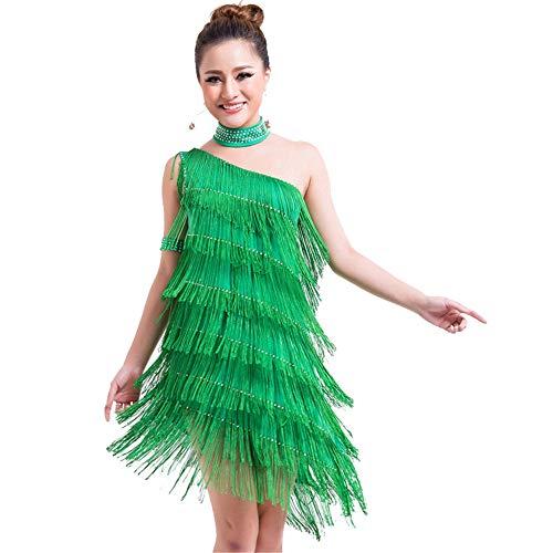 Kostüm Gypsy Green - Damen tanzen Rock Frauen Quaste Latin Dance Kleid Outfit eine Schulter Tango Rumba Ballroom Dancewear Perlen Fringe Flapper Kleid Leistung Wettbewerb Kostüme ( Farbe : Grün , Größe : Einheitsgröße )