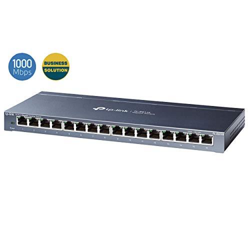 TP-Link TL-SG116 16-Ports Gigabit Netzwerk Switch (32 Gbit/S Switching-Kapazität, geschirmte RJ-45 Ports, Metallgehäuse, IGMP-snooping, Unmanaged, Plug-und-Play, lüfterlos) blau metallic