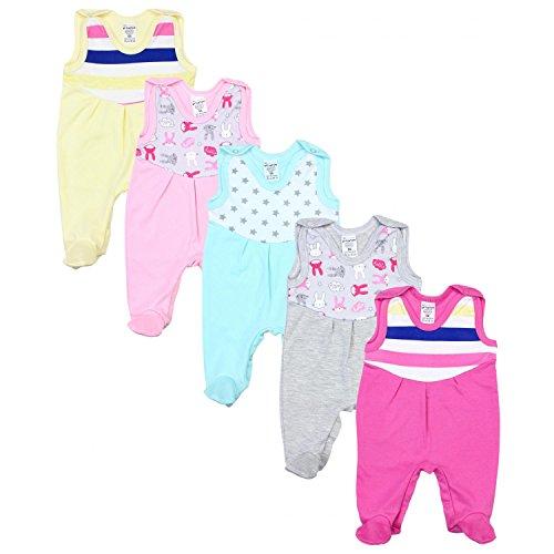 TupTam Baby Strampler mit Print Strampelanzug 5er Pack, Farbe: Mädchen 3, Größe: 56