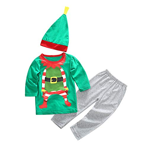 Toddler Kids Baby Boy Girl Cartoon Christmas Xmas T Shirt Pantaloni Cappello Outfit Set Outfit con Cappello Autunno Inverno Outw