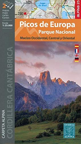 Picos de Europa. Parque NacionaL 1 : 25 000: Carpeta Alpina. Macizo Occidental / Macizo Central y Oriental