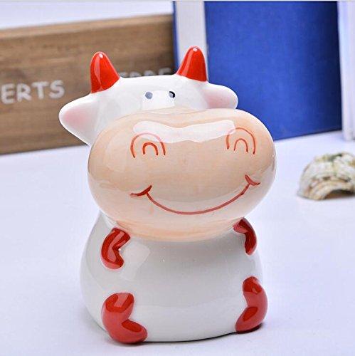 Banco de Dinero de Viaje Piggy Box Regalo del Festival de la decoración del hogar de cerámica de la Vaca de la Vaca Que se Sienta (Rojo)