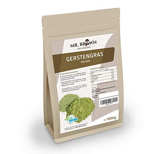 Mr. Brown Gerstengras Pulver 1 kg | Premium Qualität | Superfood | in einem wiederverschließbaren Beutel - hält länger frisch | 1.000 GR | abgefüllt in Bayern -