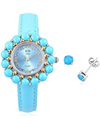 EON 1962 Swiss Movement Sleeping Beauty Turquoise 3 ATM Water Resistant Watch in Dual Tone, Stud Earrings in Rhodium Plated Sterling Silver 8 Ct