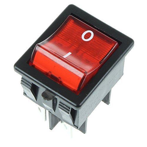 First4spares Universal Rechteckig Beleuchtete Rocker Auf/Aus-Schalter - rot mit I/O Kennzeichnungen - 20 Amp 4 Polig