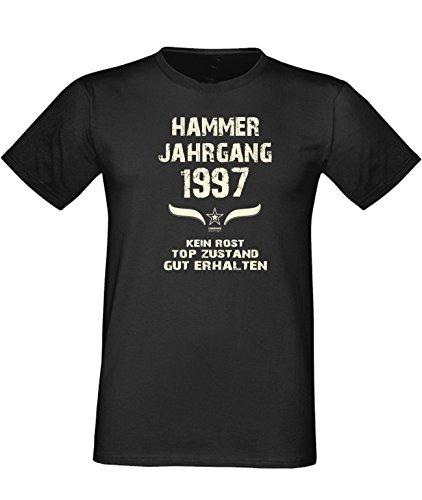 Mega trendiges humorvolles Happy-Birthday-Fun-t-shirt Geschenk mit Sprüche-Motiv: zum 19. Geburtstag Hammer Jahrgang 1997 Farbe: schwarz Schwarz