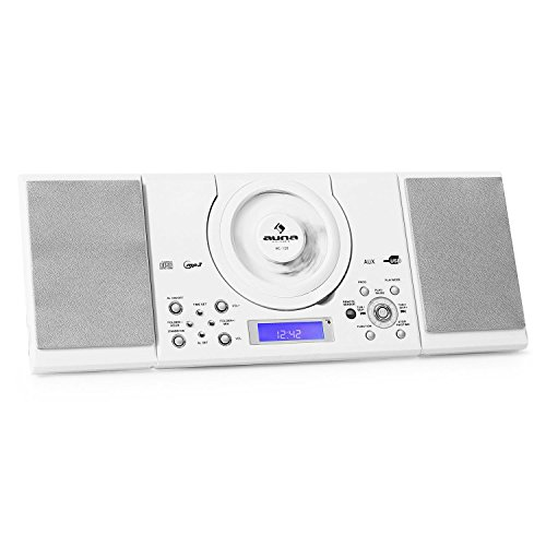 auna MC-120 • Stereoanlage • Kompaktanlage • Microanlage • MP3-fähiger CD-Player • UKW-Radiotuner • 30 Senderspeicher • USB-Port • AUX-IN • Weckfunktion • Dual-Alarm • LCD-Display • Fernbedienung • Boxen abnehmbar • Stand- und Wandmontage • weiß (Dual-port-wand)