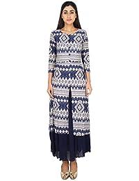 LondonHouze Printed Twin Layered Maxi Dress Blue