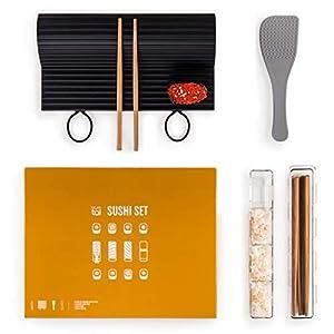 Blumtal Sushi Set, 7 Teile - große Silikonmatte spülmaschinenfest, Sushi Maker, Stäbchen und Reislöffel