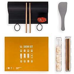 Blumtal Sushi Set - Kit per la Preparazione del Sushi, in Silicone e Bambù, Multicolore, Confezione da 7 pezzi