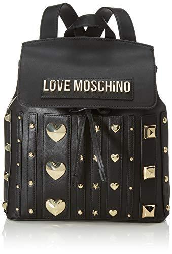 Love moschino pu, borsa a zainetto donna, (nero), 31x34x12 cm (w x h x l)