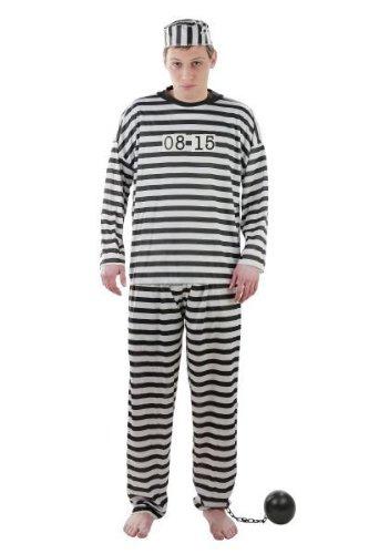 Kostüm Sträfling - Foxxeo Kostüm Gefangener Sträflingskostüm Sträfling Knasti Gefängnis Knast Verbrecher Verbrecherkostüm Größe XXXL