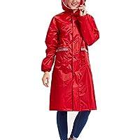 Babysbreath Impermeable Impermeable Mujeres Hombres Pareja Impermeable Trench Coat Rain Capa Rainwear Gear Rain Rain Rojo M