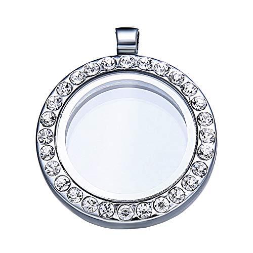 CXKNB 30Mm Silber Schwimmende Runde Magnet Medaillon Anhänger Charme Speicher Bilderrahmen Halskette Für Frauen Neujahrsgeschenk