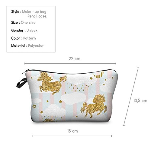 Kukubird Divertimento Nuovo Animale Foto Modello Stampa Make-up Bag Con Sacchetto Di Polvere Di Kukubird Unicorns Glitter