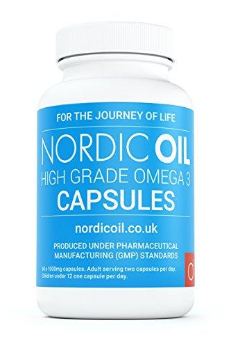 Nordic Oil Omega 3 Fischöl 1000 mg, 60 Kapseln- 100% GELD-ZURÜCK-GARANTIE - Maximale Stärke und Aufnahmefähigkeit - Hergestellt in Großbritannien -