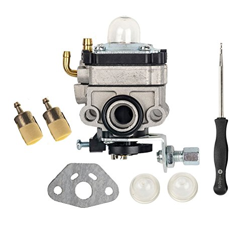 Honda Mantis Tiller (OxoxO Carburetor Carb with Primer Bulb Gasket Fuel Filter Carb Adjustment Tool for Honda GX31 GX22 FG100 Little Wonder Mantis Tiller Carb 16100-ZM5-803)