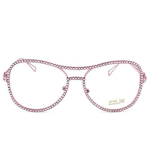 Frauen Trend Strass Flachen Spiegel Street Beat Strahlung Frosch Spiegel Myopie Brillengestell. Brille (Farbe : Pink-C1)