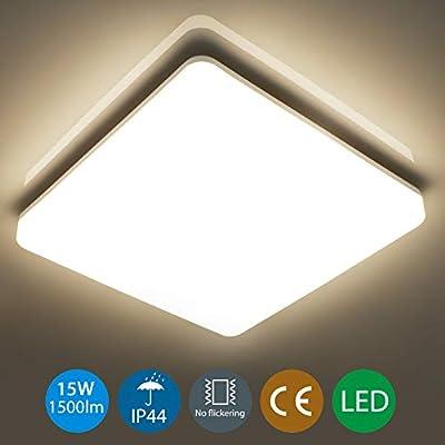 Oeegoo 18W IP44 LED Plafoniera Lampada da soffitto LED Rotonda impermeabile Illuminazione Plafoniere 1550LM- Equivalente 100W per Soggiorno corridoio bagno Officina …