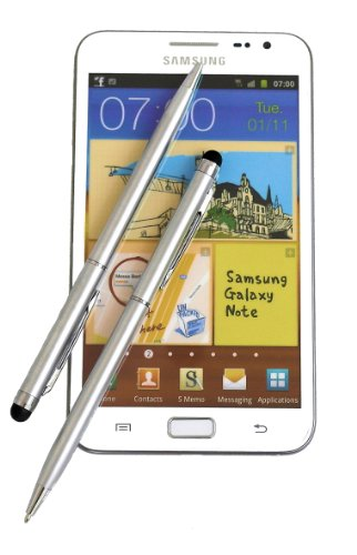 2x SILVER tomaxx Stylus Pen - Eingabestift mit Kugelschreiber für Sony Xperia Z2 Tablet, Sony Xperia Z2, Samsung Galaxy S5, Samsung Galaxy Note Pro P905, P900, Samsung Galaxy Tab PRO, ZTE Nubia Z5S, Samsung Galaxy Core LTE, Samsung GALAXY Core Plus, Alcatel One Touch Idol Alpha, LG L40, LG L70, LG L90, Wiko Highway, LG G Pro 2, Samsung Galaxy Note 3 Neo LTE+, HTC Desire 310, doro Primo 571, Allview A5 Quad, Sony Xperia T2 Ultra Dual