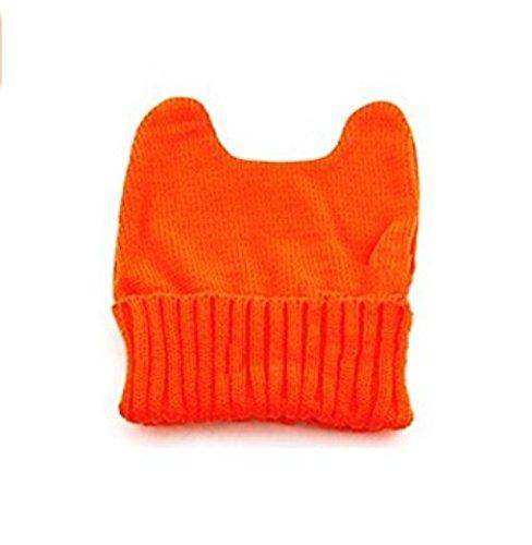 TFXWERWS Creative Lovely Winter Warm Knit Hörner Cat Ohr Mais Hat Beanie Cap für Frauen Mädchen (orange) (Ear Cat Beanie Knit)