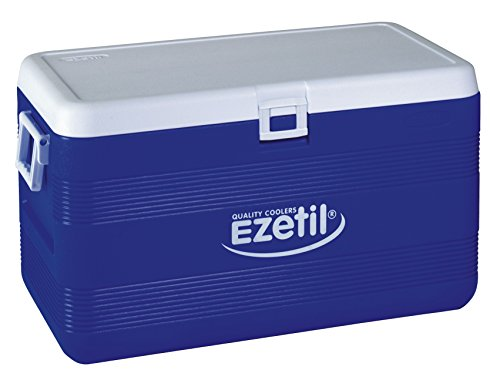 EZetil Passive Kühlbox 3Tage Eis, zum kühlen von Speisen und Getränken unterwegs und auf Outdoor Veranstaltungen wie Grillen oder Camping, Blau/Weiß, 70 Liter