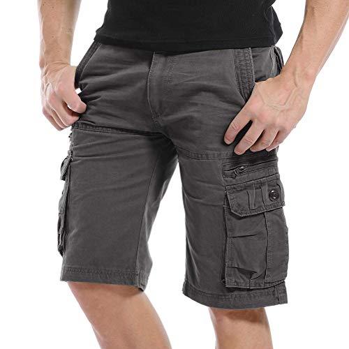 Onsoyours Pantaloni Corti Bermuda Cargo Pantaloncini Uomo Lavoro Pantaloni Tasconi con Elastico Estive Casual Pantaloncino Sportivi Jogging Spiaggia Shorts A Grigio Scuro Large
