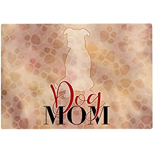 Cadouri Frühstücksbrettchen DOG MOM mit Pitbull Glasschneidebrett Schneidebrettchen – 28,5 x 20 x 0,4 cm