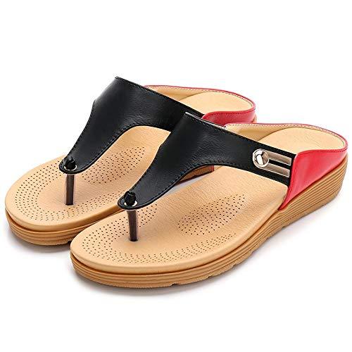 Einfache Strand Flache Schuhe Mode Damen Sandalen tragen Damen Sandalen und Hausschuhe dicken Boden Flip Hausschuhe Großhandel,schwarz -