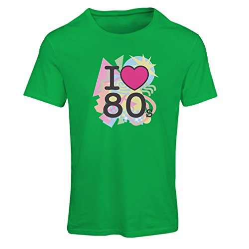 T shirts for women Amo 80s t shirt musica rock bands regalos (Medium Verde Multicolore)