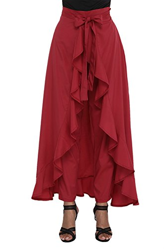 Vaidehi Creation Women'Ruffle Pants Split High Waist Maxi Long Crepe Palazzo Overlay Pant Skirt (Maroon)  available at amazon for Rs.599