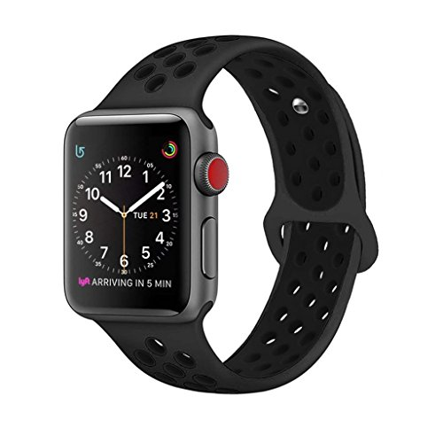 ZRO Smart Watch Correa, Silicona Suave Reemplazo de Sport Band para Apple iWatch Serie 3/Serie 2/Serie 1 38mm S/M, Antracita/Negro