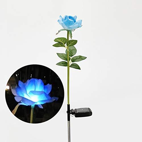 Luce solare giardino-tianranrt❄solar power flower light led outdoor garden yard path prato paesaggio lampada decor(blu)