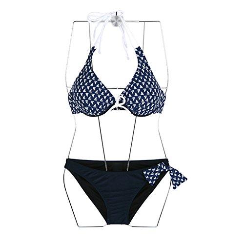 ZHANGYONG*Hot springs maillot de bain femme 3 Piece Smock Beach + gravure femme boules de grandes particules de la pauvreté noire , bikini bleu L Bikini bleu M