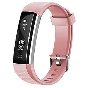 Fitness Armband Lintelek NEU fitness tracker Sport Uhr Smart Bracelet Notifications Anrufe SMS Nachrichten Reminder Smartwatch Schrittzähler Schlaftracker Aktivitätstracker für Android und iOS Rosa
