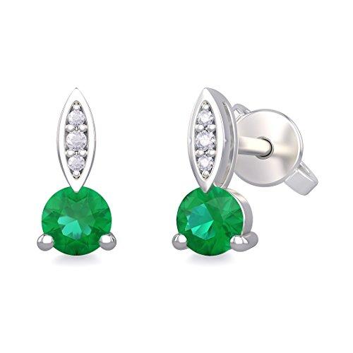 Orecchini donna MELISSA in oro bianco 18kt e palladio con diamanti e smeraldo