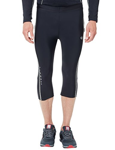 Ultrasport Men's Compression Effect and Quick-Dry-Function Running Pants Capri, Black/White, 2X-Large