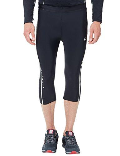 Ultrasport Pantaloni da corsa da uomo - pantaloni da fitness a 3/4 da uomo, con azione di compressione e funzione quick-dry, Nero/Bianco, XL
