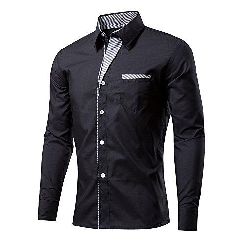 Rmine Herren Langarm Hemd Bügelleicht für Freizeit Business M-4XL (Schwarz, XXL)