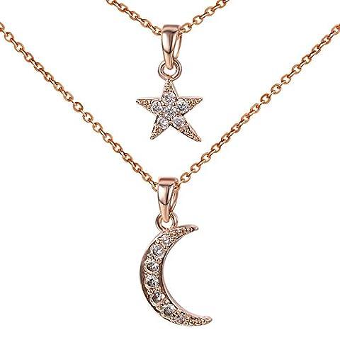 Yoursfs Collier fantaisie long 2 parties Or plaqué Pendentif en Etoile et Lune pour Femme ou Fille comme Cadeau
