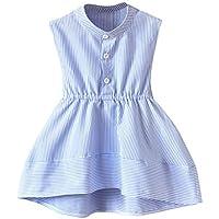 Luckycat Vestido Niña, Lindo Rayas Vestido para Niñas Sin Mangas Casual Princesa Vestir Infantil de