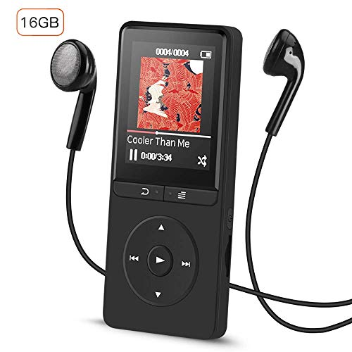 AGPTEK 16GB Lossless MP3 Player mit FM Radio und Aufnahmefunktion, 1.8 Zoll TFT Display Sport Musik Player, 70 Stunden Wiedergabe, Schwarz