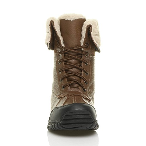 Donna basso inverno neve stringhe pelliccia stivali polpaccio caviglia taglia Castagna marrone