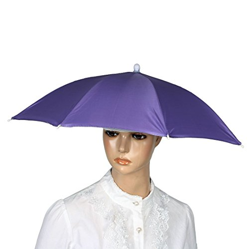 Tragbare Schwarz-elastisches Stirnband Lila Canopy Regenschirm-Hut-Kappe für Angeln