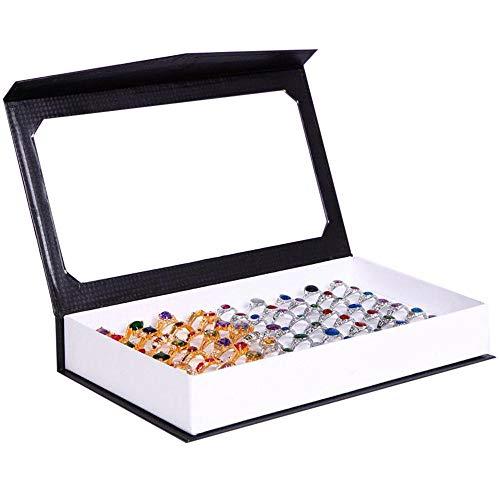 Zacheril Schmuckschatulle Kleine Ringe Box Organizer 72-Slot Classic Schmuck Display Trval Case Schwarz Für Mädchen Halskette Schmuck Aufbewahrung (Color : White)